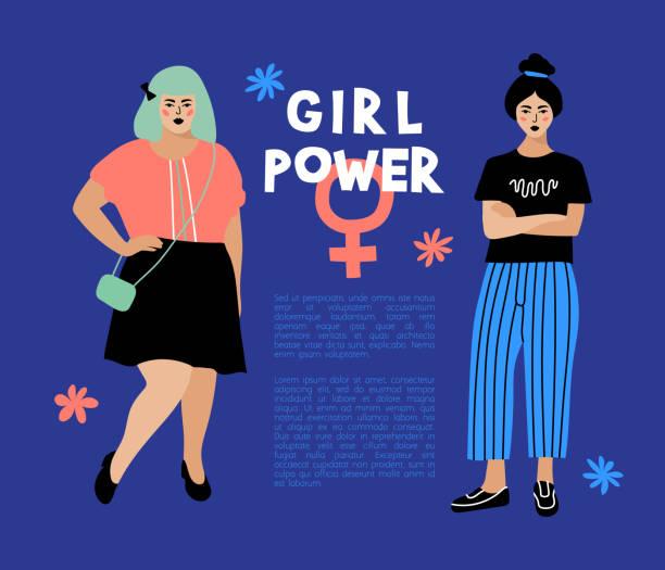 mädchen-power-karte, feministische flyer anti-diskriminierungs-plakat. modebewusste junge frauen auf dunkelblauem hintergrund, platz für text. hipster zeichen, vector flaches design - antidiscrimination stock-grafiken, -clipart, -cartoons und -symbole