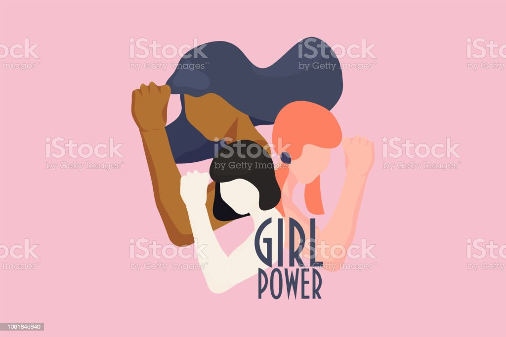 여성 파워, 힘된 여성, 국제 페미니즘 아이디어 포스터 개념. 여자 유행 스타일에 손으로 다른 민족성의 다양 한 문자. 여자 권리 그리고 다양성 벡터 일러스트 레이 션입니다. - 로열티 프리 개념 벡터 아트