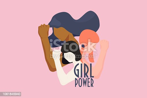 Girl power, empowered women, international feminism ideas poster concept. Female diverse characters of different ethnicity with hands in trendy style. Women Rights and diversity vector illustration.
