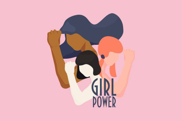 Girl power, empowered women, international feminism ideas poster concept. Female diverse characters of different ethnicity with hands in trendy style. Women Rights and diversity vector illustration. Girl power, empowered women, international feminism ideas poster concept. Female diverse characters of different ethnicity with hands in trendy style. Women Rights and diversity vector illustration. confidence stock illustrations
