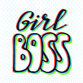 Girl slogan with 3d stereo effect. Hand drawn lettering. Womens right. Female, feminism symbols. Vector illustration. Can be used as print for poster, t shirt, postcard.