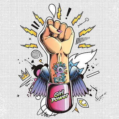 Girl power fist. Raised Hand