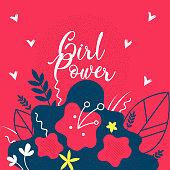 Girl Power Floral Flat Vector Web Banner Template