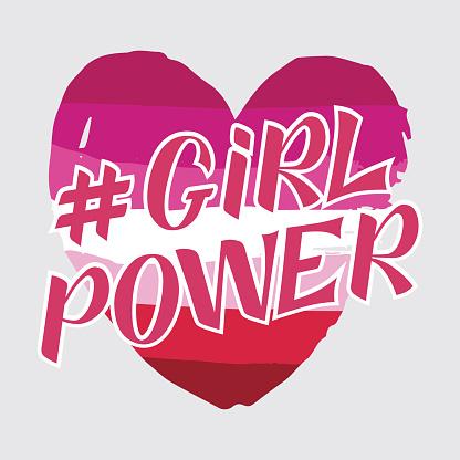 Girl power handwritten inscription on lesbian flag background. GRL PWR hand lettering. Feminist slogan. Empowering phrase, saying. Modern illustration for t-shirt, sweatshirt, or other apparel print.