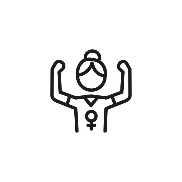 mädchen-power-line-symbol - confidence stock-grafiken, -clipart, -cartoons und -symbole