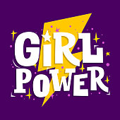 Girl Power motivation poster. Feminism slogan. Vector print for girls clothes, party cards and teenager accessories.