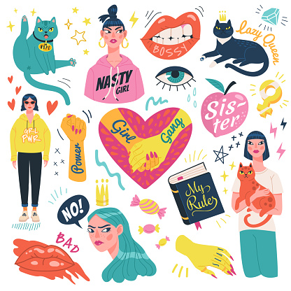Girl power stickers collection.