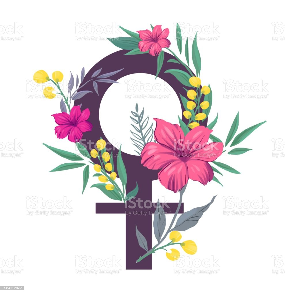 Girl Power Symbol Of Feminism With Flowers Vector Illustration Stock