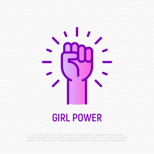 Girl power thin line icon: woman's hand with fist. Modern vector illustration. Girl power thin line icon: woman's hand with fist. Modern vector illustration. stiff stock illustrations
