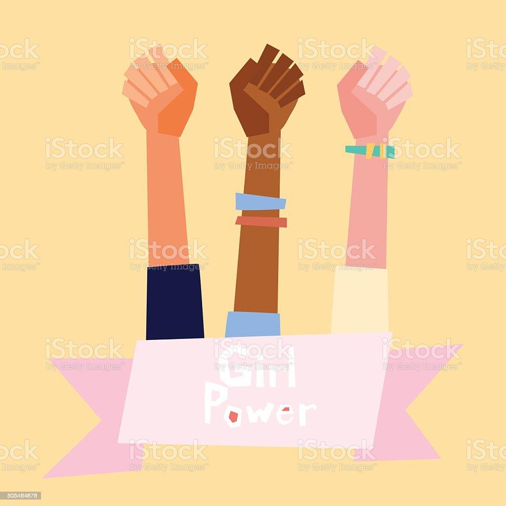 Girl power vector illustration in flat style.  Feminism symbol vector art illustration