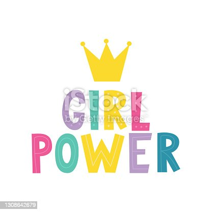 Girl power vector. Woman motivational slogan. Vector illustration isolated on a white background. Good for posters, textiles, t shirts.