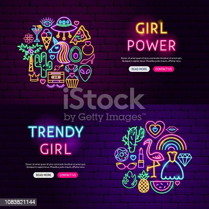 Girl Power Website Banners. Vector Illustration of Fashion Promotion.