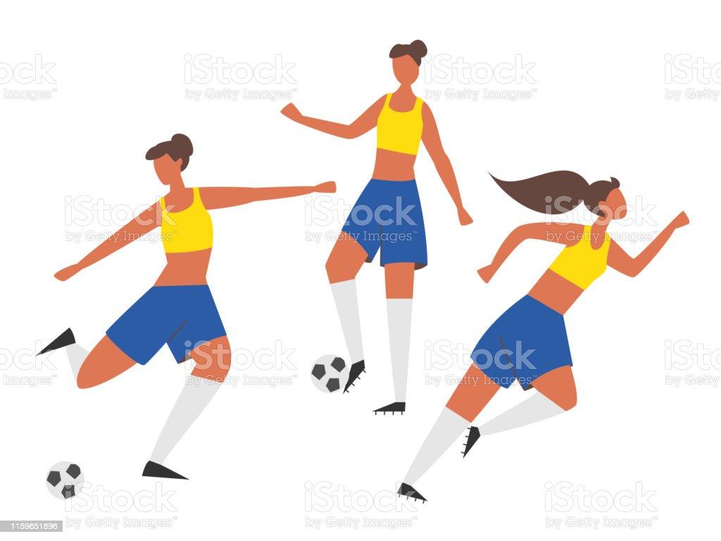 Girl power. Woman soccer players with ball. Football vector...