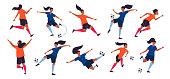 Woman football league. Girl power. Women soccer players team. Sport vector illustration.