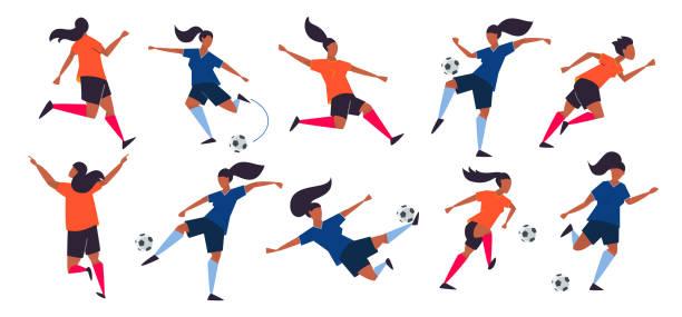 stockillustraties, clipart, cartoons en iconen met meisje macht. vrouwenvoetbal spelers. voetbal vector illustratie. - soccer player
