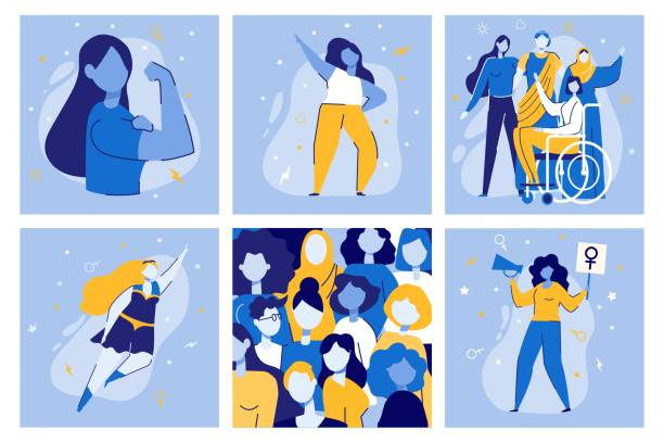 Girl Power Women Together Feminist Movement Fight Girl Power Vector Illustration Set. Cartoon Women Together. Woman Superhero. Feminist Movement Demonstration. Multiethnic Multiracial Diversity Equality. Feminism Rights Fight Protest equality stock illustrations