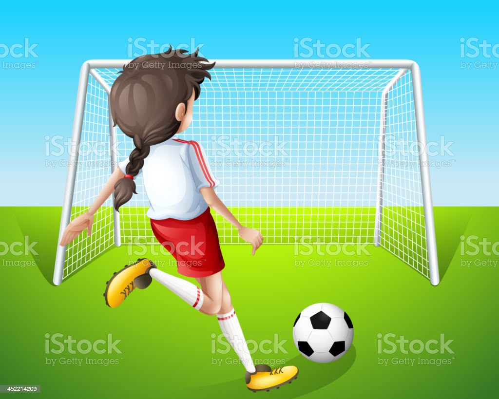 girl practicing soccer royalty-free stock vector art