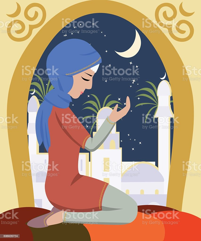 girl praying at ramadan vector art illustration