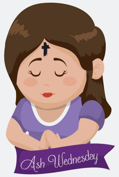 girl praying with cross in her forehead on ash wednesday - ash wednesday stock illustrations, clip art, cartoons, & icons