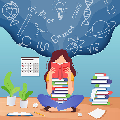 Girl prepare to exam. Young woman sitting read book and thinking about formulas . Education, knowledge concept. School, study and literature