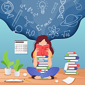 Girl prepare to exam. Young woman sitting read book and thinking about formulas . Education, knowledge vector concept. School, study and literature