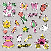 Girl Princess Badges Patches Stickers with Crown, Castle, Heart and Ring. Vector illustration