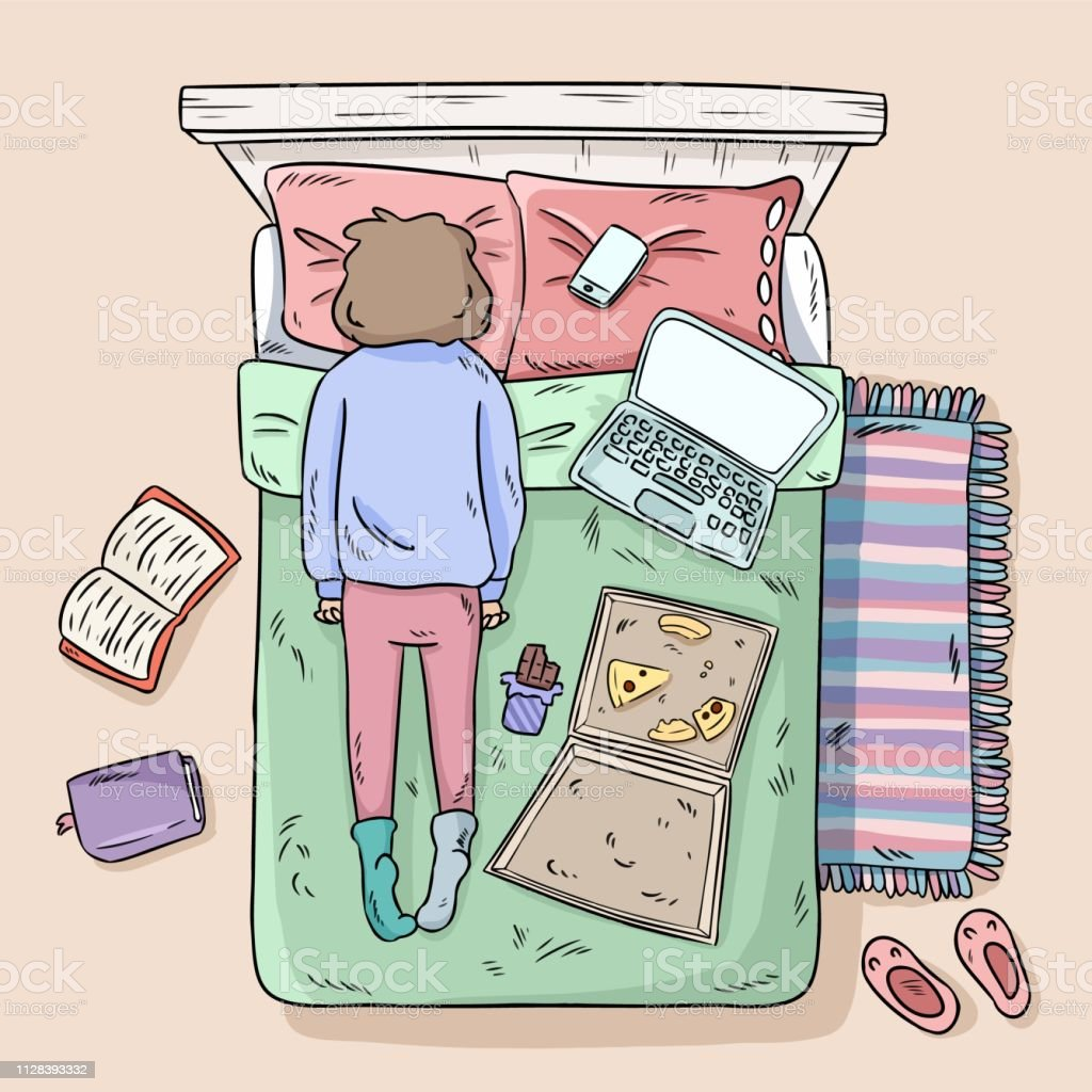 Girl procrastinating on the bed. Mess at home. Comic style image. Top...