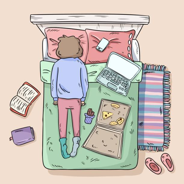 girl procrastinating on the bed. mess at home. comic style image. top view. - working from home stock illustrations