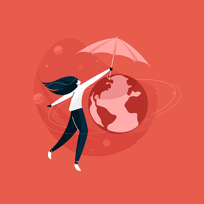 girl protecting planet with umbrella, save the planet earth concept, world environment day vector illustration
