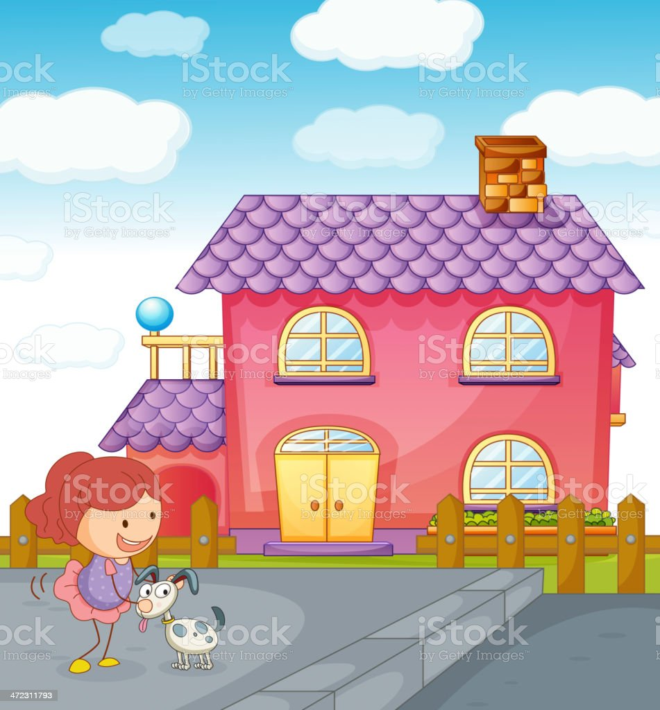 Girl puppy and house royalty-free stock vector art