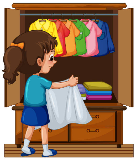 Put Clothes Away ~ Royalty free child putting away clip art vector images