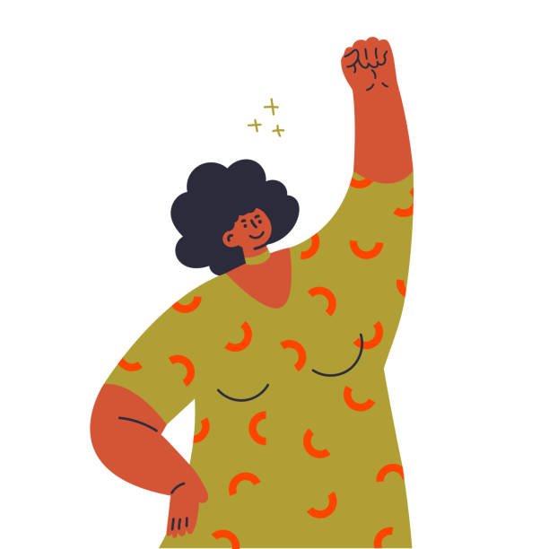 girl raises her hand in a fist.fight like a girl - black power stock illustrations
