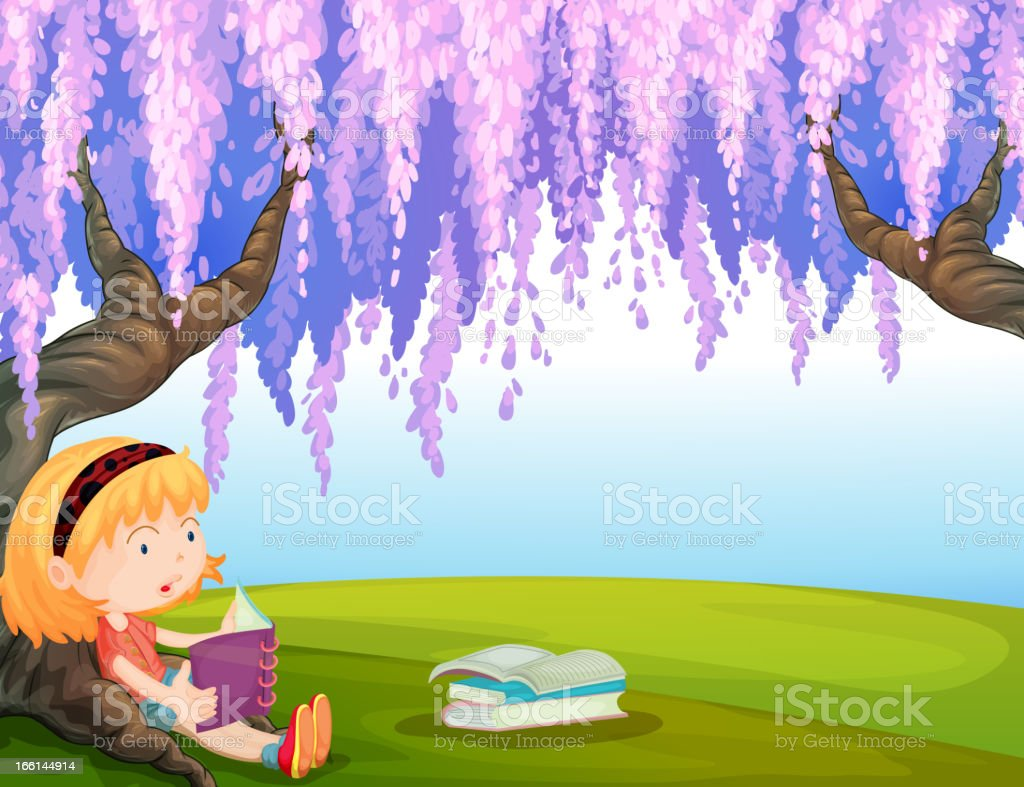 Girl reading a book at the park royalty-free stock vector art
