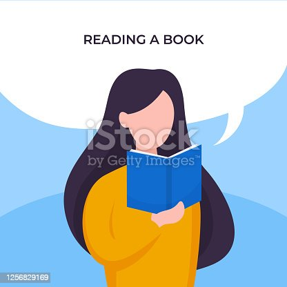 Girl reading a book with bubble chat over head vector illustration. Long hair female holding a book poster design