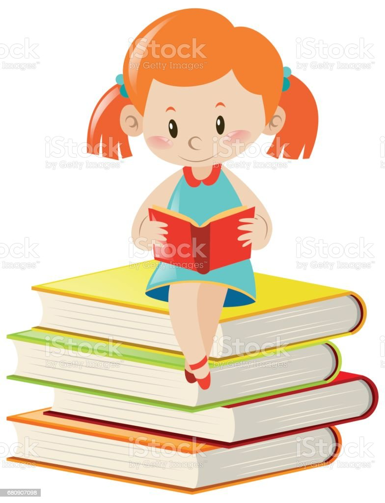 Girl reading book alone royalty-free girl reading book alone stock vector art & more images of activity
