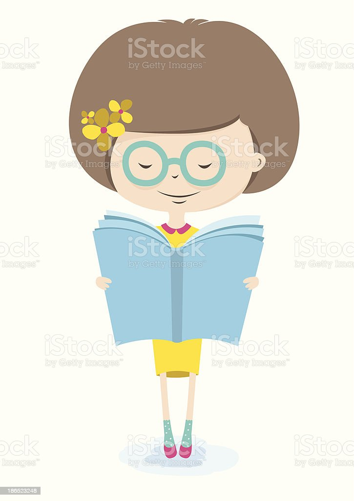 Girl Reading Book. Back to School. royalty-free girl reading book back to school stock illustration - download image now