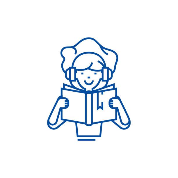 bildbanksillustrationer, clip art samt tecknat material och ikoner med girl reading bok i hörlurar linje ikon koncept. girl reading bok i hörlurar platt vektor symbol, underteckna, kontur illustration. - latino music