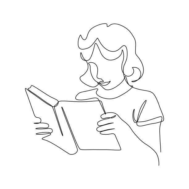 Girl reading book Girl reading book in continuous line art drawing style. Teen girl with paper book in hands minimalist black linear sketch isolated on white background. Vector illustration book drawings stock illustrations