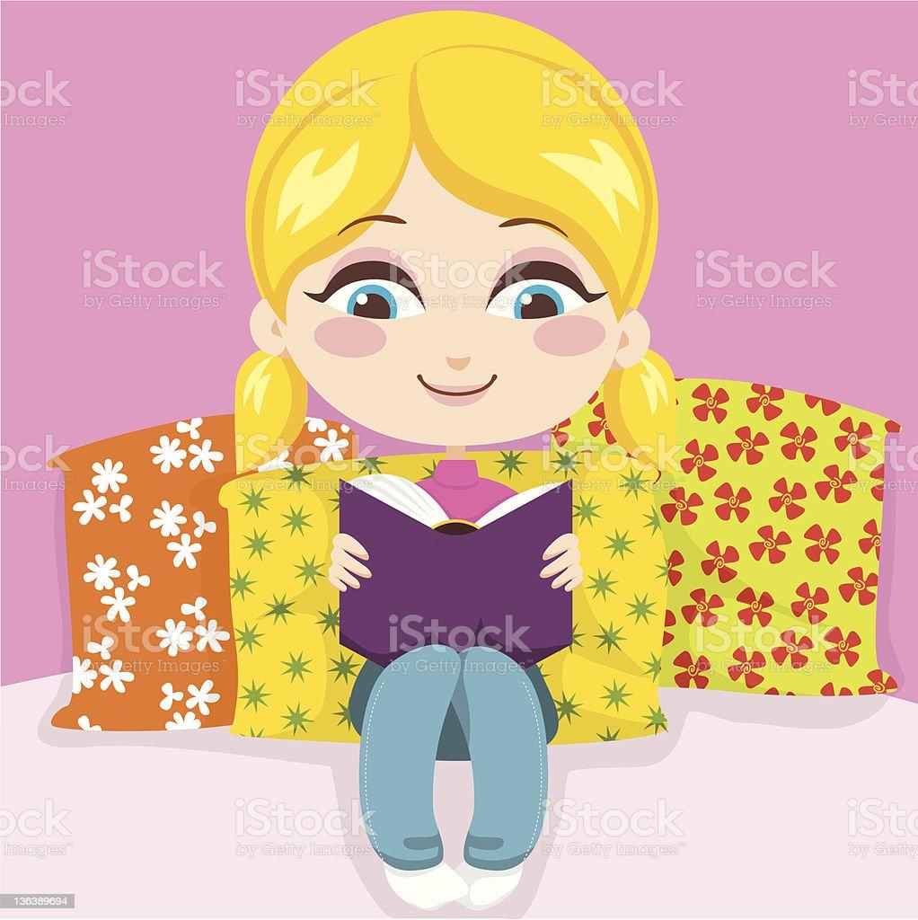 Girl Reading Book vector art illustration