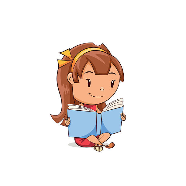 stockillustraties, clipart, cartoons en iconen met girl reading book - a little girl reading a book