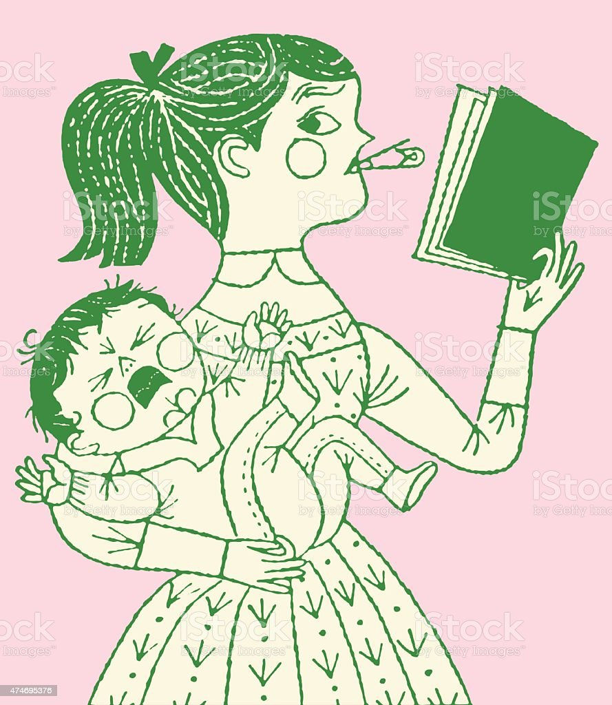 Girl Reading Book While Holding Baby vector art illustration