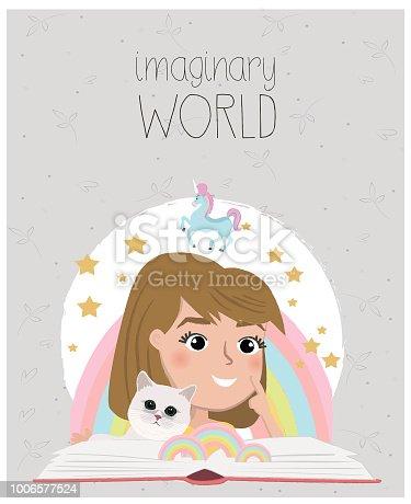 Girl reading books, cartoon style. Imagination concept