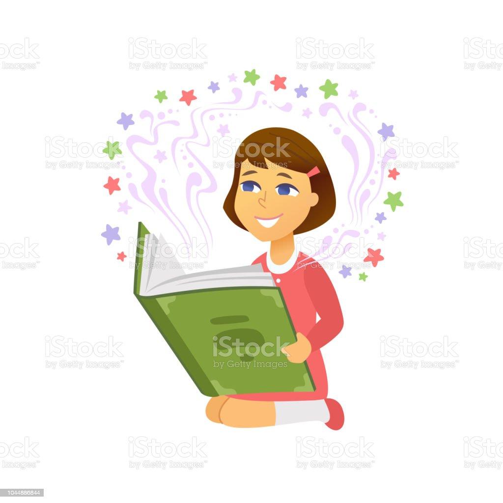 Vetores De Menina Lendo As Pessoas Dos Desenhos Animados De