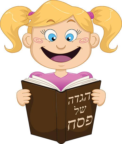 Girl Reading From Haggadah For Passover vector art illustration