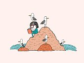 Girl reading in a beach rock surrounded by seagulls, hand drawn ink vector illustration