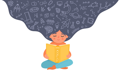 Girl reading textbook. Child with educational doodle. Kid holding book. Vector illustration.