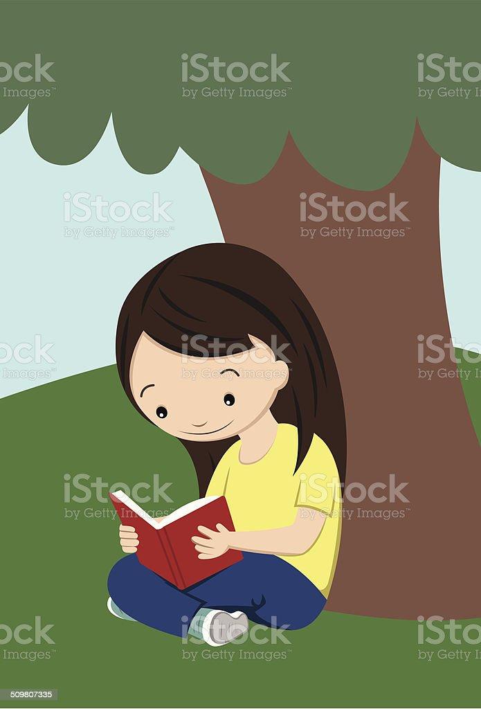 Girl Reading Under Tree vector art illustration