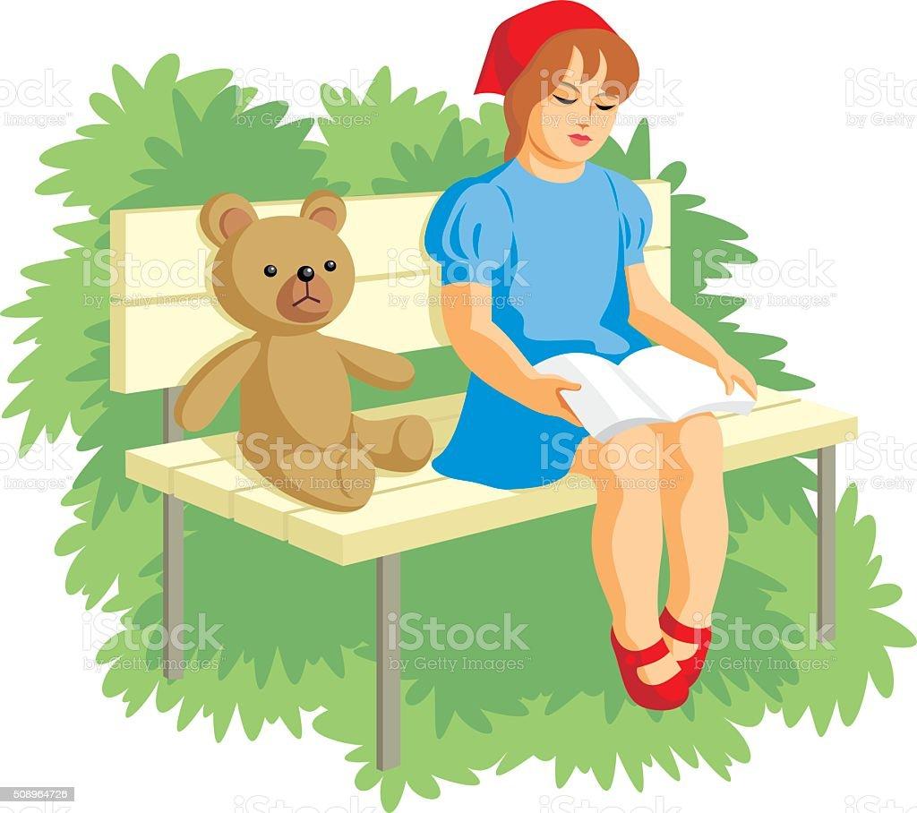 girl reading vector art illustration