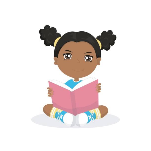ilustrações, clipart, desenhos animados e ícones de menina lê um livro - menina negra
