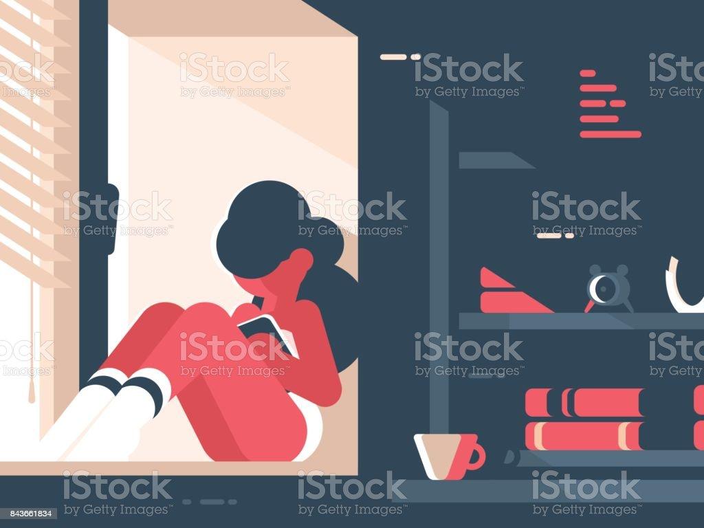 Menina lê livro na sala - ilustração de arte em vetor